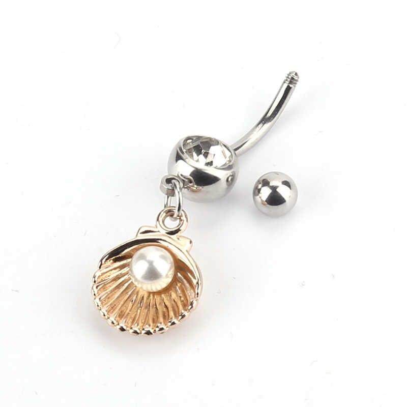 シェル真珠の形状へそリングイガイカキセクシーなピアスサージカルステンレスボディジュエリーセクシーなへそピアスバーベル