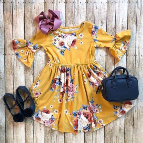 Princess Kids Baby Girl Dress Floral Party Dress Casual Solid Dresses Girls Long Flare Sleeve Hot Floral Dresses