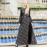 XXXL Womens Maxi Dresses 2018 Spring Exotic Apparel Yellow Floral Jacquard Full Sleeve Vintage Rockabilly 60s