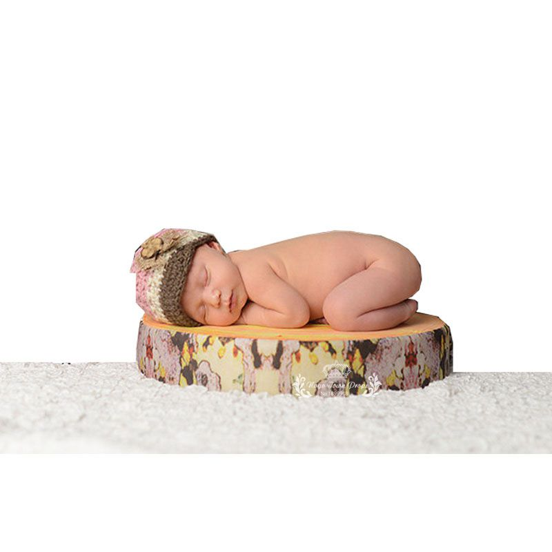 Newborn Photographer Prop Wood Slab Looking Cushion Toddler Baby Soft Cushion Wood Slice Cabin Tree slice Posey Pillow Cushion