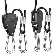 Useful Adjustable 1 Pair 2 PCS 1/8 Hanging Rope Ratchet Lights Lifters Led Grow Light Hangers Zinc Alloy Hook Plastic Pulley