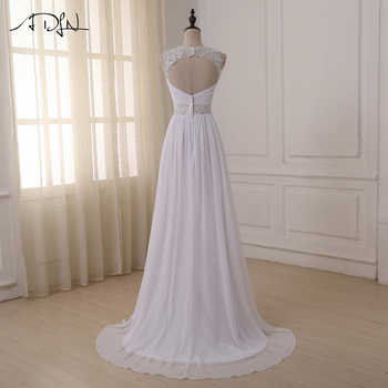 ADLN Beach Wedding Dress 2017 Sexy V-neck Beaded Straps Pleated Chiffon Wedding Gowns Vestido De Novia In Stock