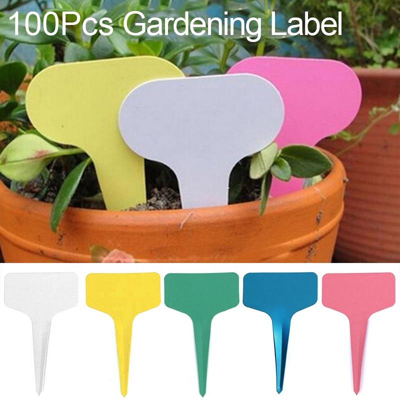100pcs 5x7CM PVC Type T Label Nursery Label Plant Garden Plant Pot Planter Vegetable Label Tags