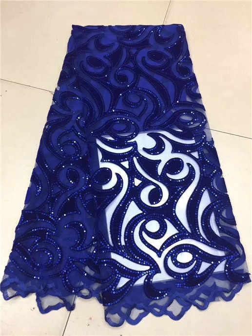 אפריקה נצנצים תחרה בד קטיפה עבור תפירת שמלת חתונה אפריקאית תחרה אפריקה בגדי 2018 צרפתית נטו תחרה נצנצים בד כחול