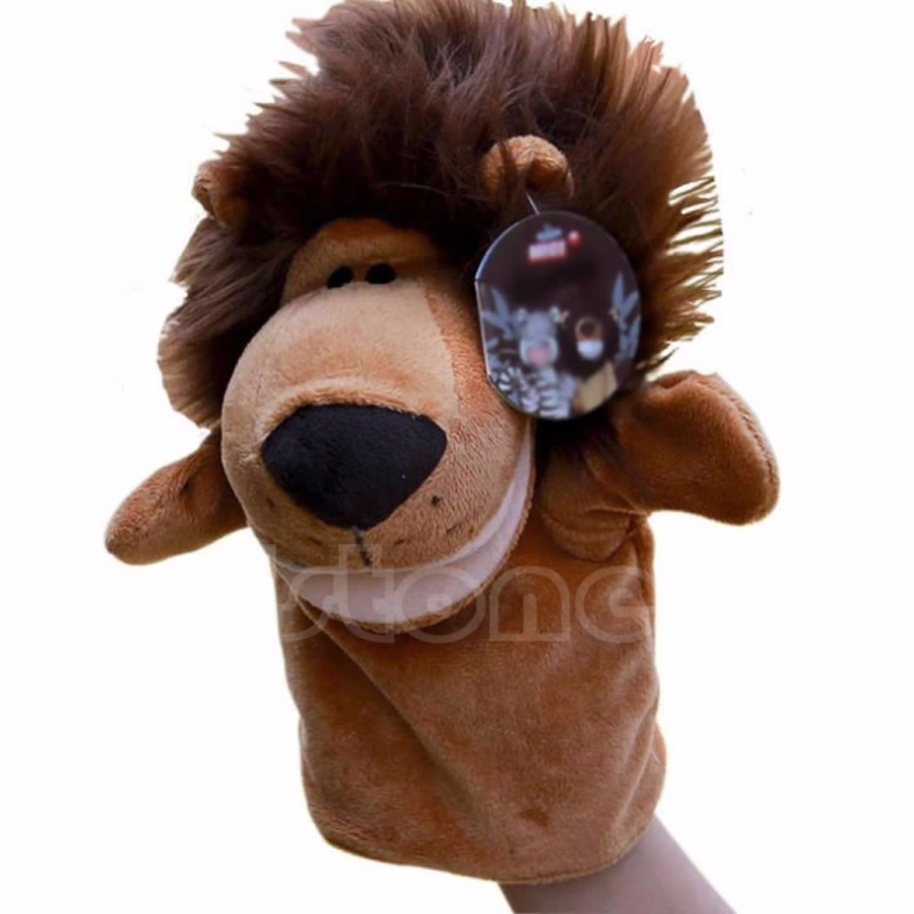 Kid Cute Lion Plush Velour Animals Hand Puppets Chic Designs Learning Aid Toy