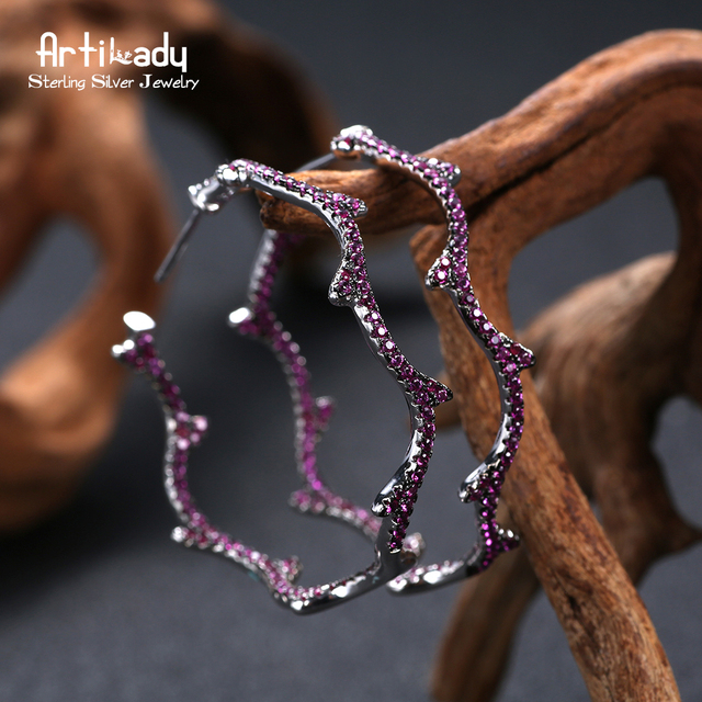 Artilady olive branch design 925 sterling silver hoop earrings delicate CZ stone for women jewelry gift party