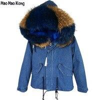 2019 new denim jacket winter jacket women parka fur coat outerwear big real natural raccoon fur collar hooded warm parka