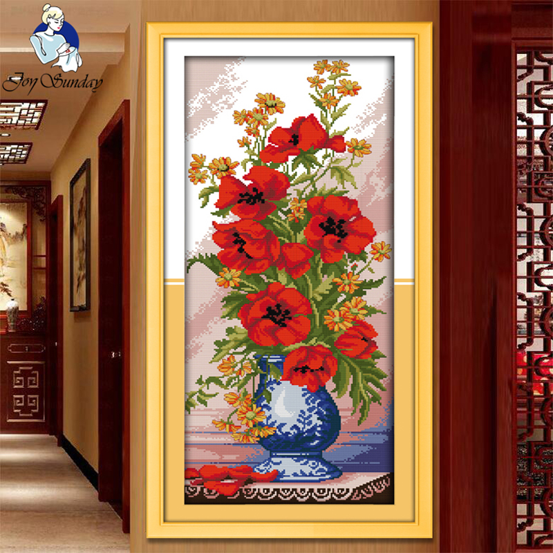 JOY Sunday, Needlework, DIY DMC Cross stitch, Sets For Embroidery kit Poppy Celadon Vase dekorasi rumah Dihitung Cross-Stitching