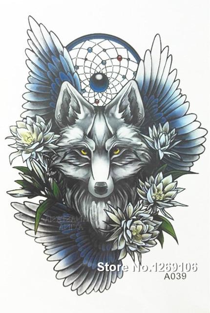 2016 Nieuwe Eenvoudige Cool Tattoo Wolf Met Dreamcatcher 21x15 Cm