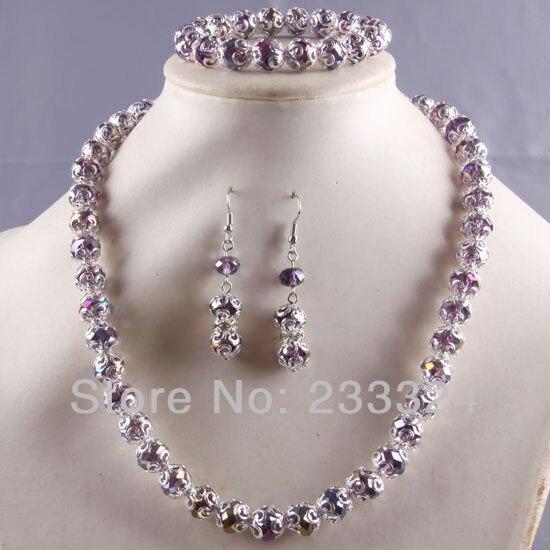 Envío Gratis Nuevo sin etiquetas Joyería Conjuntos Púrpura de Cristal Facetado C