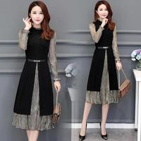 Plus Size 4xl Patchwork Midi Dress Ukraine Trendy Stitching Dress Elegant Vestido De Festa Office Work Women Dress Vestidos