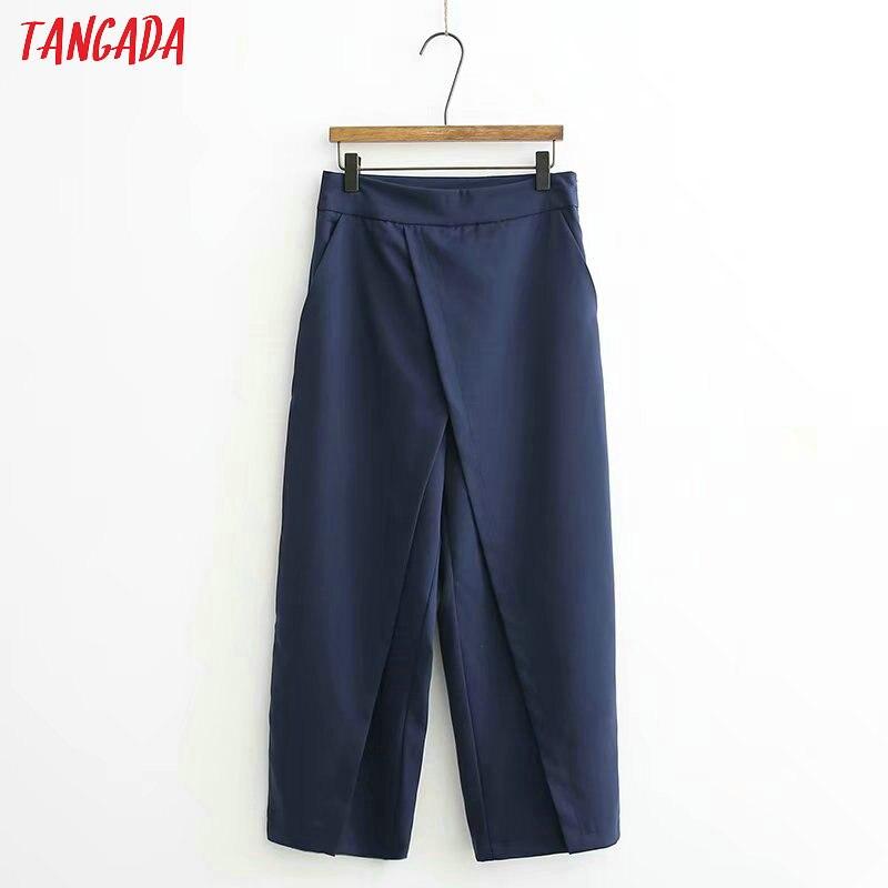 Tangada women elegant navy pants 19 ladies casual harem pants cotton cool korean fashion trousers mujer XD449 10