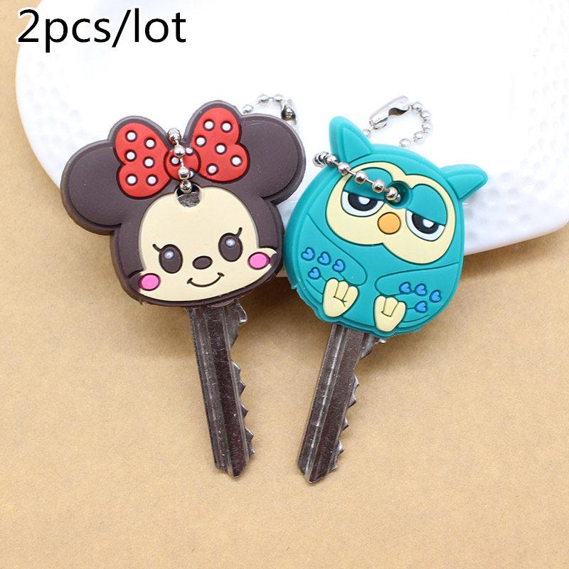 2 PCS Cartoon Anime Cute Key Cover mickey stitch Bear Keychain Silicone Hello Kitty super hero porte clef cap minne key protect