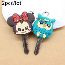 2 PCS Cartoon Anime Cute Key Cover mickey stitch Bear Keychain