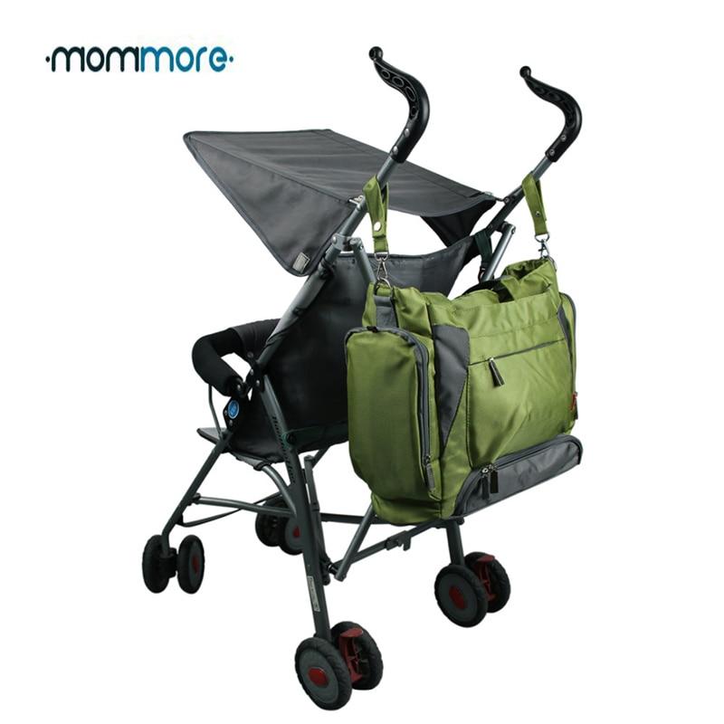 Bolsa de pañales para bebé mommore bolsa de pañales verde con almohadilla cambiante bolsas grandes para mamá bolsos de mano impermeable para cochecito de bebé