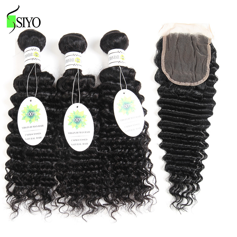 Mongolian Deep Wave Bundles With Closure 4x4 Non Remy Human Hair Extensions Hair Weave Bundles With Closure Natural Color