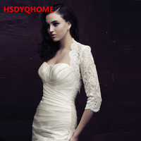High Quality White Lace 3/4 sleeves bolero jacket for wedding dresses Bridal Wraps Free shipping