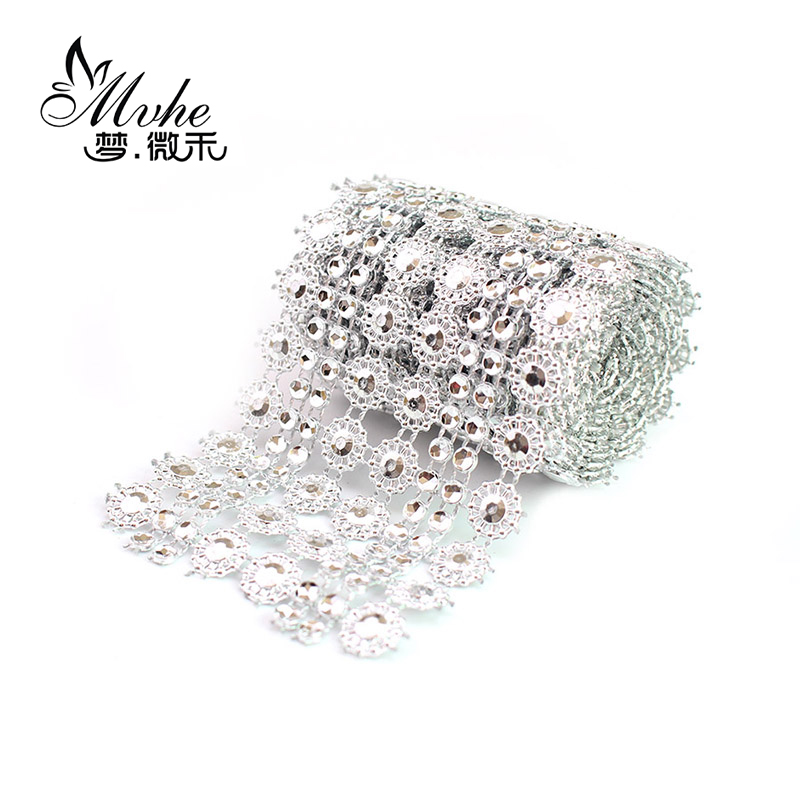 Алмазный цветок солнца сетки рулон для «сделай сам» украшения событие Вечеринка день рождения свадьбы праздничный стол торт Обёрточная бумага кристалл ленты Лента тюль