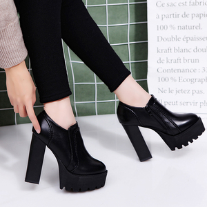 Super high-heeled Martin women shoes 2018 new waterproof platform high-heeled single shoes 12 cm classic crude with leather shoe