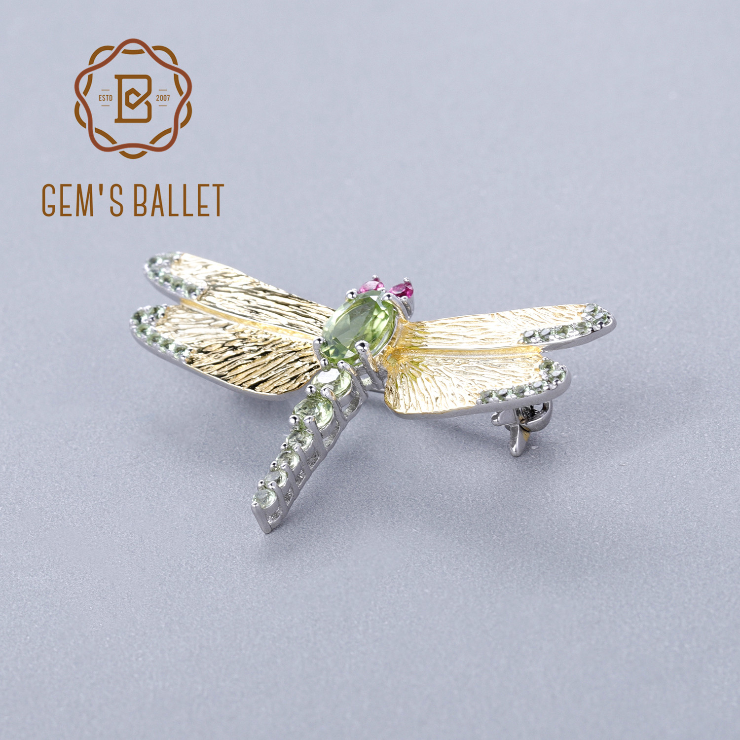 GEM S BALLET 1 13Ct Natural Green Peridot Gemstone Brooch Fine Jewelry 925 Sterling Sliver Handmade
