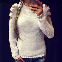 Winter Sweater Women Knitted Tops 2017 Christmas Sweater Poncho Sleeve O Neck Sexy Cut Out Autumn