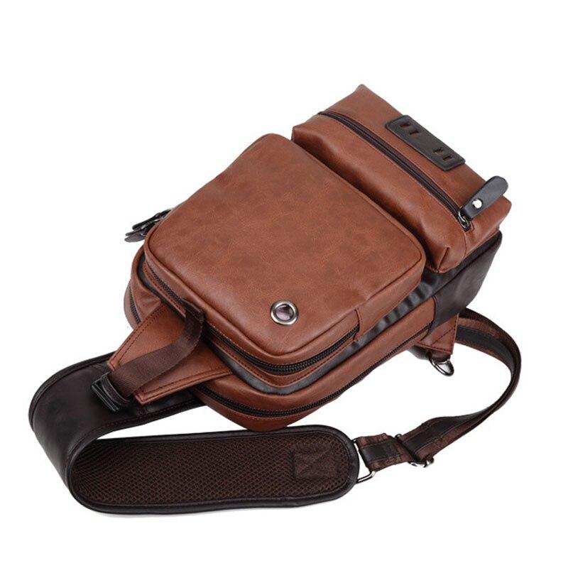 Zebella Brand Men's Shoulder Bag Vintage Men Crossbody Bag Men Chest Bags Casual Fashion PU Leather Men Messenger Bag