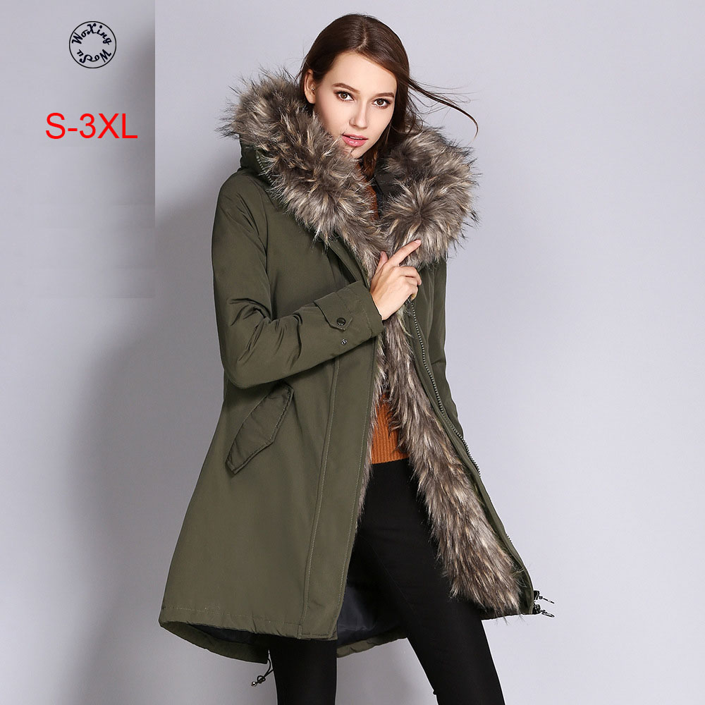 Women's hooded parkas female down cotton-padded jacket size S to 3XL