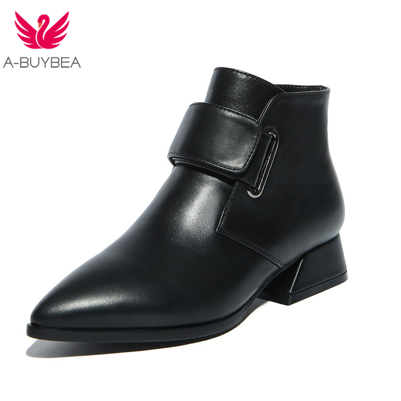 A-BUYBEA Women's 2017 autumn winter wind, magic stick, horseshoe and pointed, solid color cowhide, Martin boots ароматизатор aroma wind 002 a