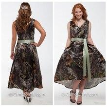 V-Neck Camo Bridesmaids Dresses High Low Short Formal Camouflage Bridesmaid Dress Cheap Sale