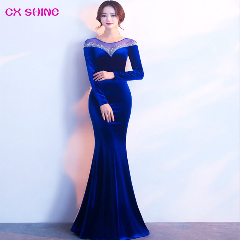CX SHINE sequins long evening dresses full sleeves lace green blue wine mermaid trumpet prom party