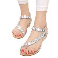 New Summer Woman Sandals Bohemia Flat Sandals Diamond Thong Woman Shoes 2016 Roman Woman Shoes ST21
