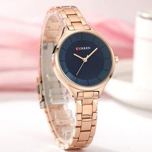 Image 4 - 2019 Curren Women Watches Luxury Gold Black Full Steel Dress Jewelry Quartz Watch Ladies Fashion Elegant Clock Relogio Feminino