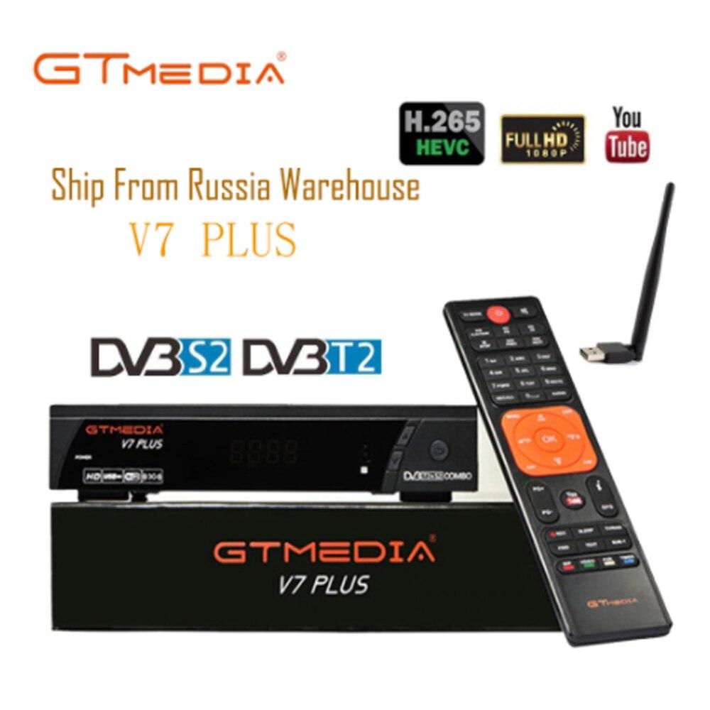 100% Original GTMEDIA V7 PLUS DVB-S2 DVB-T2 Satellite TV Combo Receiver H.265+Spain Italy Russian Cccam 5 Line PK V7S HD Decoder
