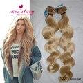 8A en Bruto brasileño de la virgen del pelo clip en extensiones de cabello humano onda del cuerpo clip en la extensión del pelo rubio 7 unids uno-tiempo de textura