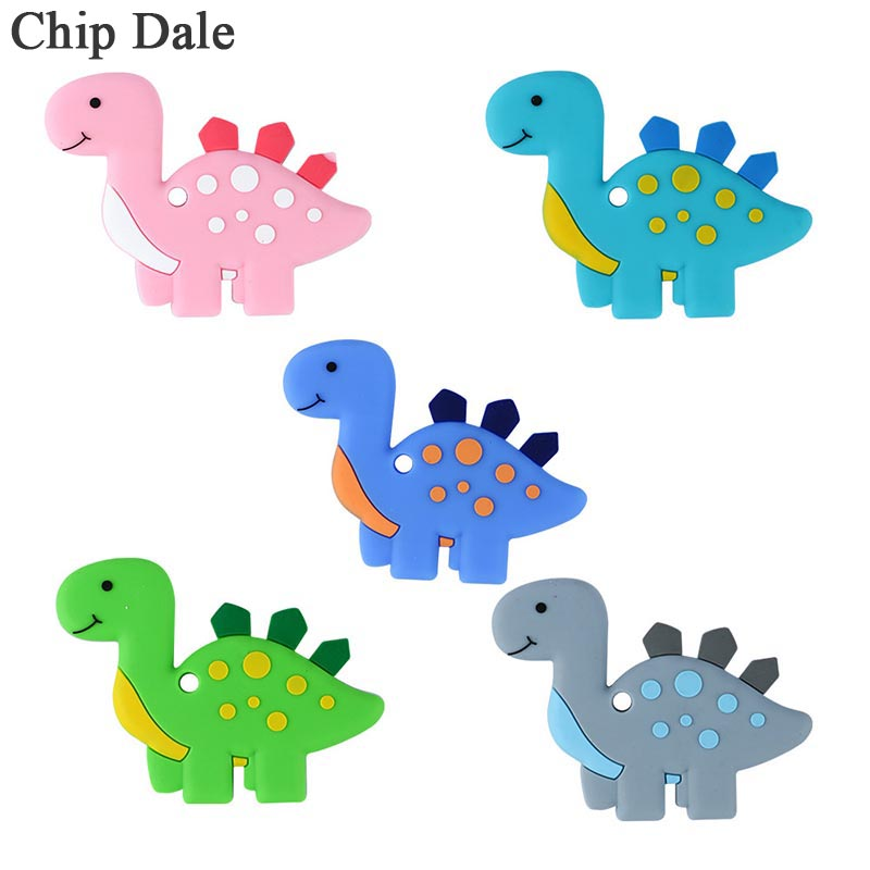 Chip Dale 1Pc Dinosaur Baby Teethers Silicone Chew Toys Baby Teething Nursing Pendant Necklace Accessory BPA Free
