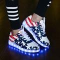2017 Mulheres sapatos luminosos led Casual Adulto Light Up Shoe Unisex 7 Cores Amantes Union Jack Plus Size 35-44 estrela bandeira