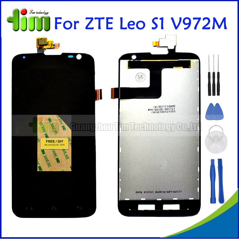 ZTE V972 5 0 inch Black LCD Display Touch Screen Digitizer Assembly Original New For ZTE