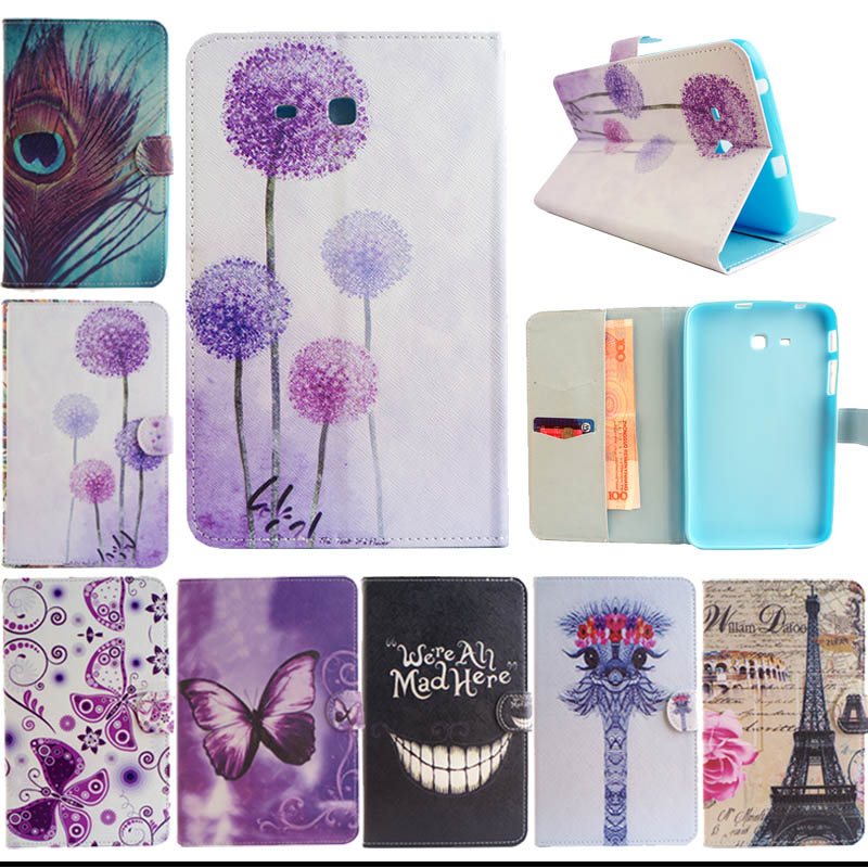 T110 T111 Black teeth Tree Design PU Leather Stand Case For Samsung Galaxy Tab 3 Lite 7.0 T110 T111 Table Cover S5555D