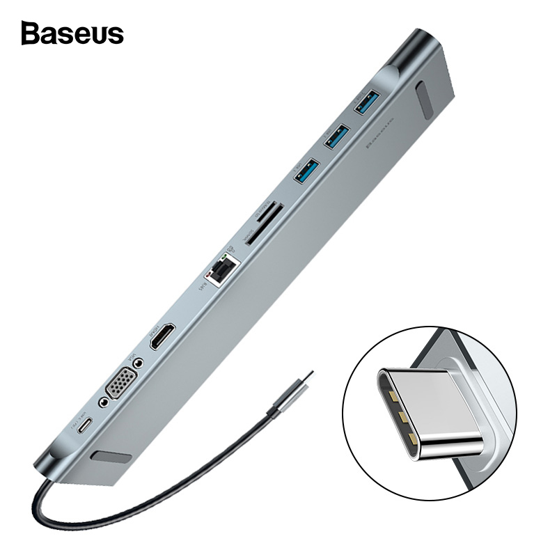 Baseus USB C HUB Type C to HDMI VGA RJ45 Multi Ports USB 3.0 USB3.0 Type-C Splitter For Macbook Pro Air USB-C HUB Power Adapter