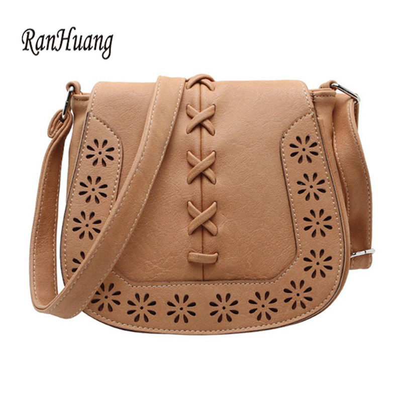 RanHuang 2017 Women Flower Hollow Out Handbags Ladies Small PU Leather Shoulder Bag Vintage Brown Messenger Bags Bolsa Feminina vintage hollow out choker