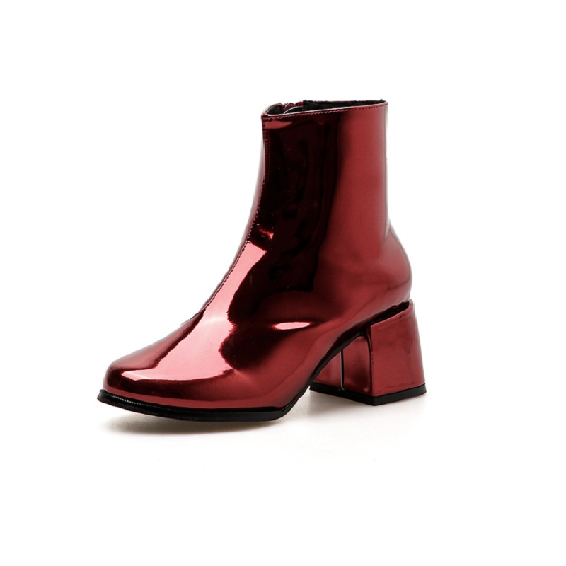 2018 autumn patent leather wild round head thick with foreign trade side zipper womens booties red 01092018 autumn patent leather wild round head thick with foreign trade side zipper womens booties red 0109