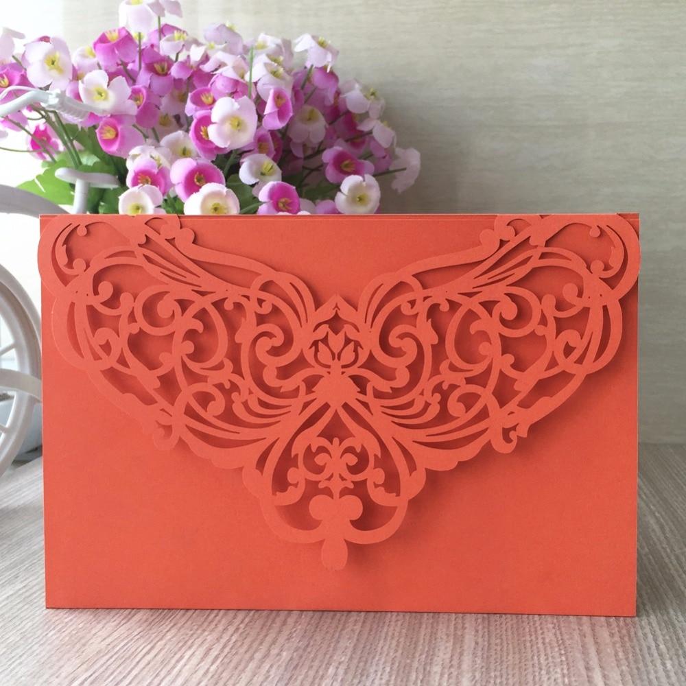 50pcs/lot very hot sale orange wedding invitation card birthday ...