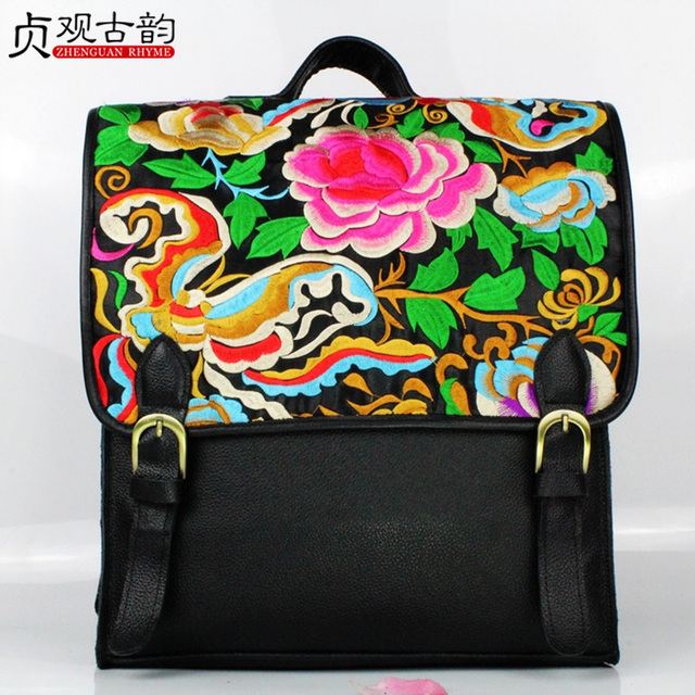 The First Layer Cowhide Embroidery Backpack Handmade Laptop Bagpack Ethnic Flower Bohemia Genuine Leather Women Shoulder Big Bag