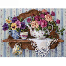 Full Square/Round Drill 5D DIY Diamond Painting flowers & cup 3D Embroidery Cross Stitch  Decor Gift diapai 100% full square round drill 5d diy diamond painting couple oil paintingdiamond embroidery cross stitch 3d decor a19636