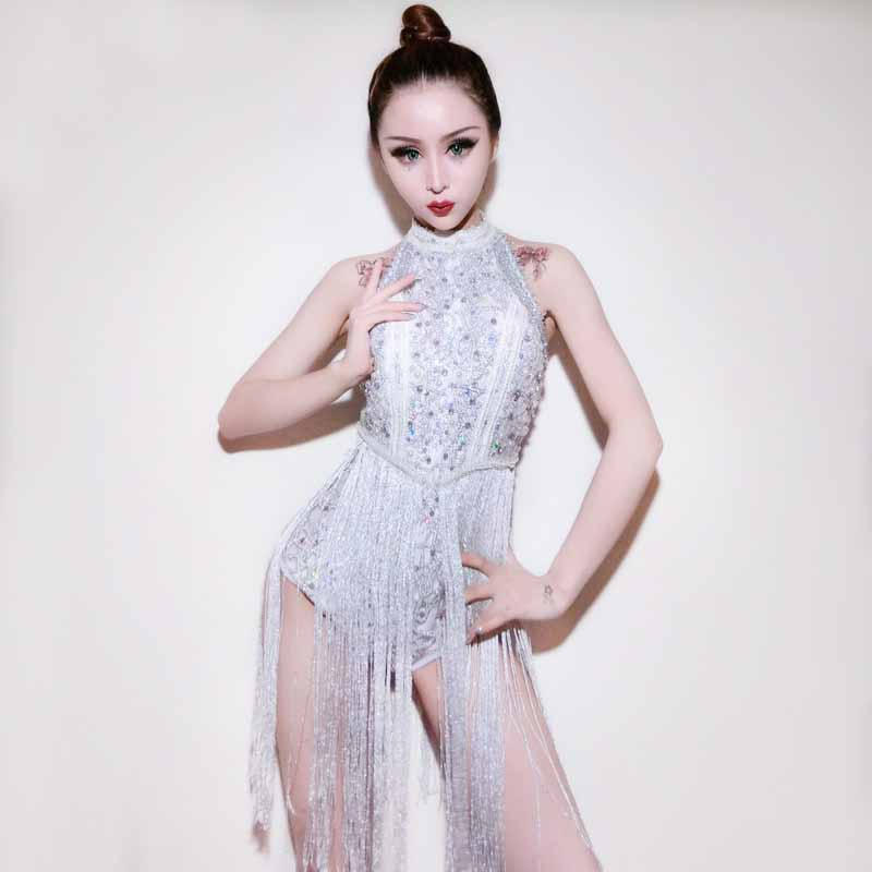 Diamantes de imitación plata borla Sexy Bodysuit mujeres Jazz Dance Party Outfit DJ DS Nightclub Beyonce escenario disfraces para cantantes
