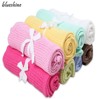 70cmX90cm Summer Autumn Baby Blankets Soft Cotton Crochet Candy Color Prop Crib Casual Sleeping Bed Supplies
