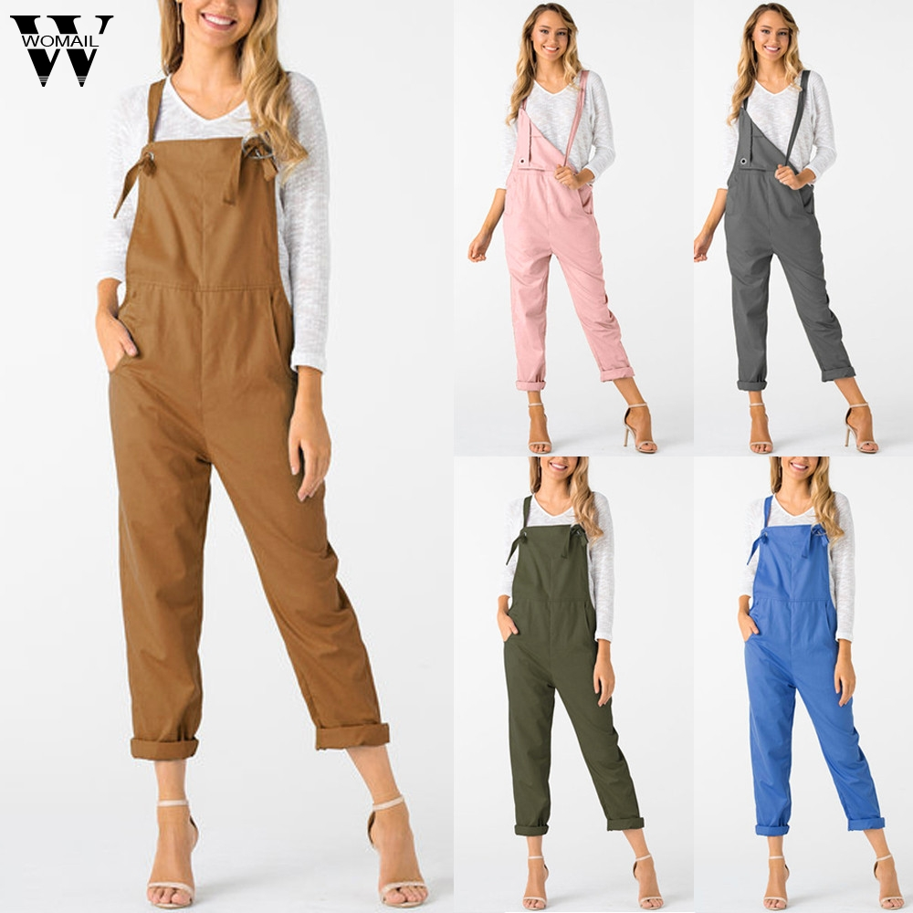 Womail Bodysuit Women Summer Casual Loose Dungarees Pocket Rompers Long Jumpsuit Trousers Fashion 2019 Peto Mujer Dropship