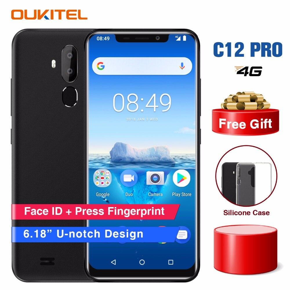 Oukitel C12 Pro Cara ID 6.18 Polegada 19:9 U-notch Exibição Android 8.1 gb de RAM gb ROM 16 2 8MP MT6739 3300 mah Da Bateria + 5MP 4g Smartphones