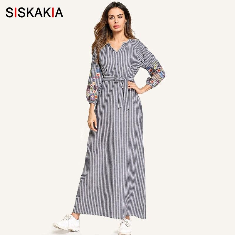 Siskakia Casual robes Printemps Automne 2018 femmes bande Broderie maxi robe longue avec mince ceinture Vintage Moyen-Orient robes Arabes