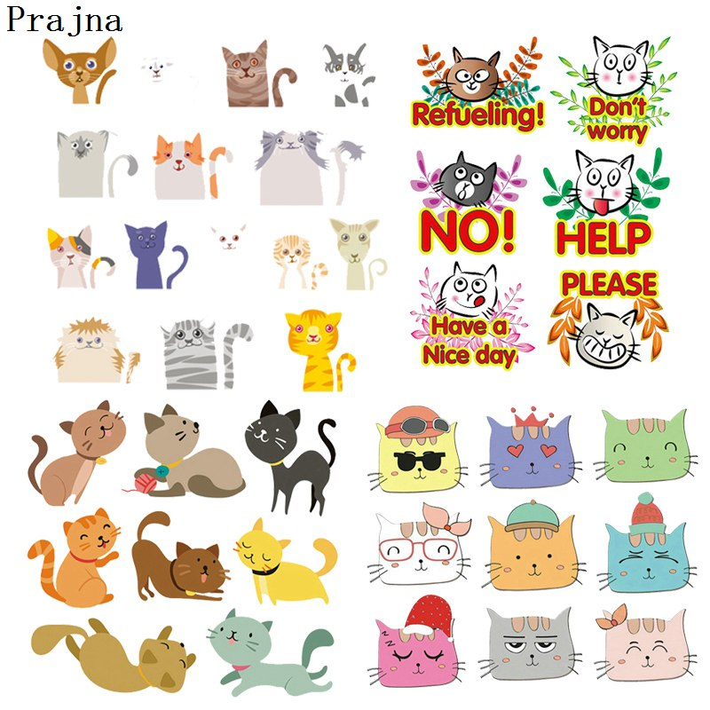 Prajna Anime Animal Cat Patch Thermal Heat Transfer Ironing Patches Stickers Iron On Transfers For Clothing Apparel Decorations